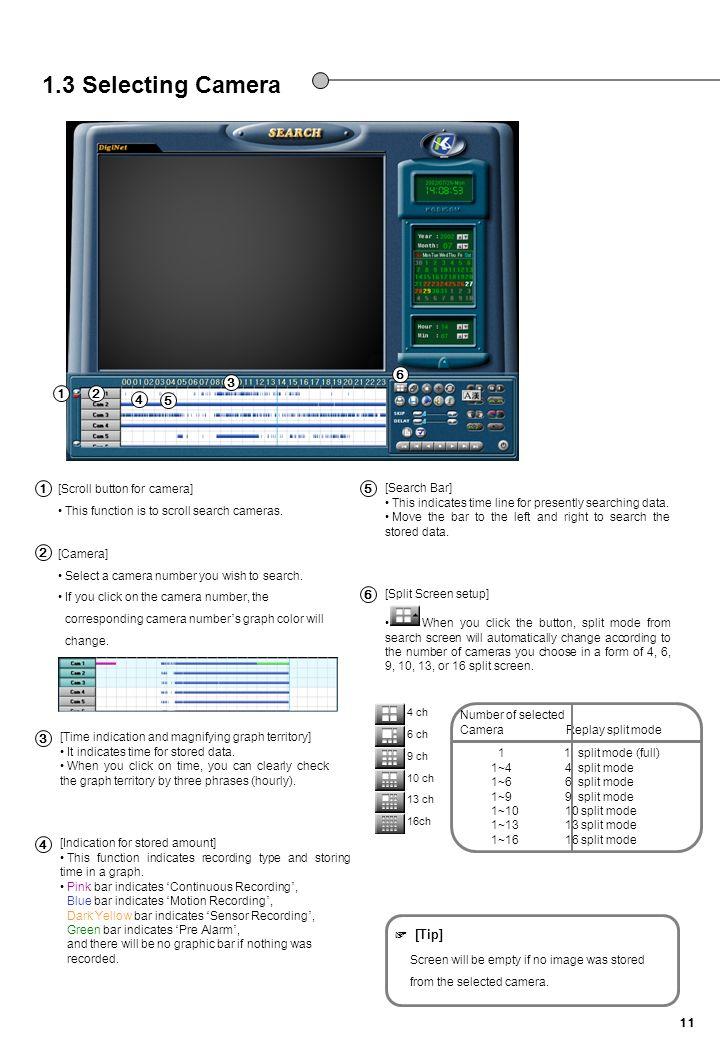 1.3 Selecting Camera 내용수정 6 3 1 2 4 5 1 5 2 6 3 4 ☞ [Tip]
